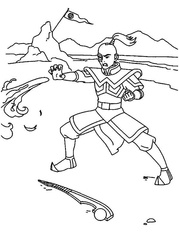 Avatar the Last Air Bender, : Zuko Fire Bending in Avatar the Last Air Bender Coloring Page