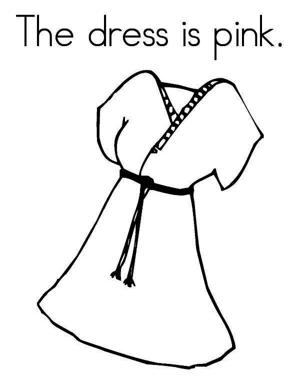 Dress, : Cute Kimono Style Dress Coloring Page