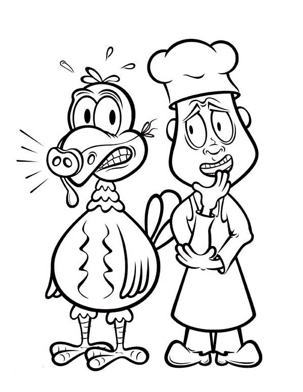Canada Thanksgiving Day, : Canada Thanksgiving Day Turkey and the Chef Coloring Page 2