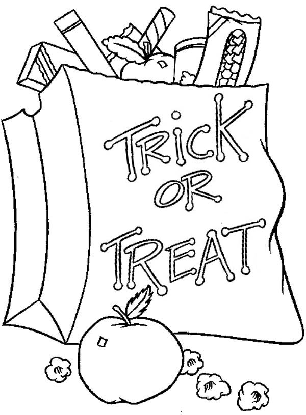 Halloween Day, : Halloween Day Trick or Treat Candy Bag Coloring Page
