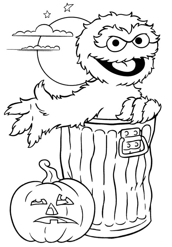 Halloween Day, : Sesame Street Oscar and Pumpkin Jack O' Lantern Coloring Page