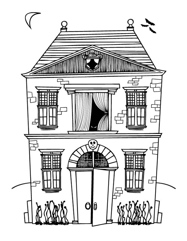 Halloween Day, : Two Storey House on Halloween Day Coloring Page