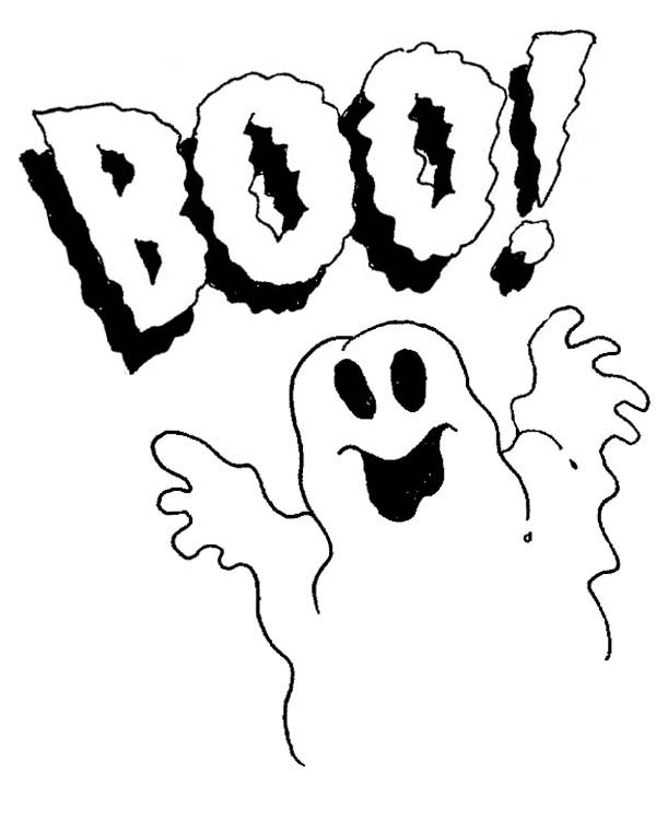 Halloween Day, : White Ghost Say Peekaboo on Halloween Day Coloring Page