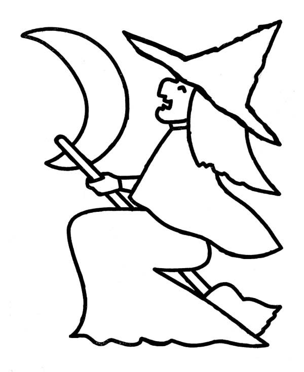 Witch Figure On Halloween Day Coloring Page