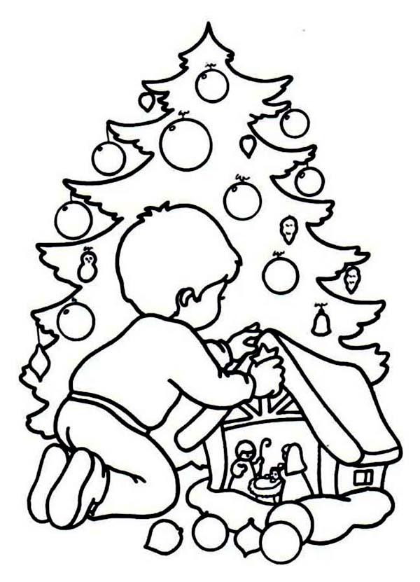 Christmas, : A Children Playing Christmas Game on Christmas Coloring Page