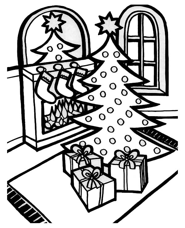 Christmas, : A Lovely Christmas Tree Lineart on Christmas Coloring Page