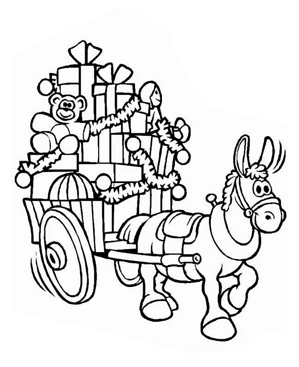 Christmas, : A Mule with a Cart Full of Christmas Presents on Christmas Coloring Page