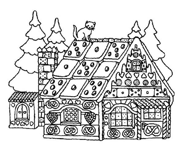 Christmas, : A Yummy House Made of Candy on Christmas Coloring Page