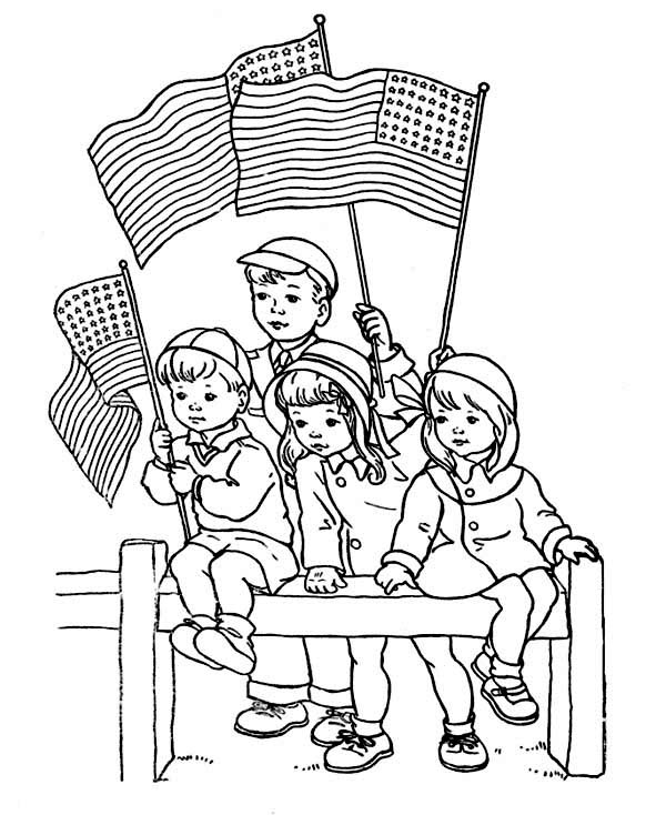 Veterans Day, : Little Kids Holding American Flag and Celebrating Veterans Day Coloring Page