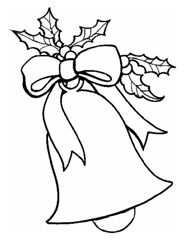 Christmas, : Lovely Christmas Bell Ornament on Christmas Coloring Page