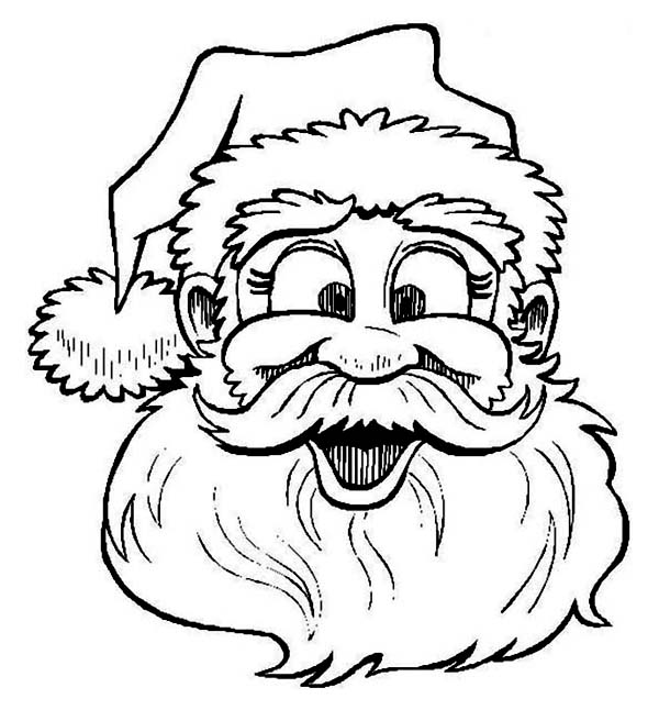 Christmas, : Santa Clauss Laughing on Christmas Coloring Page