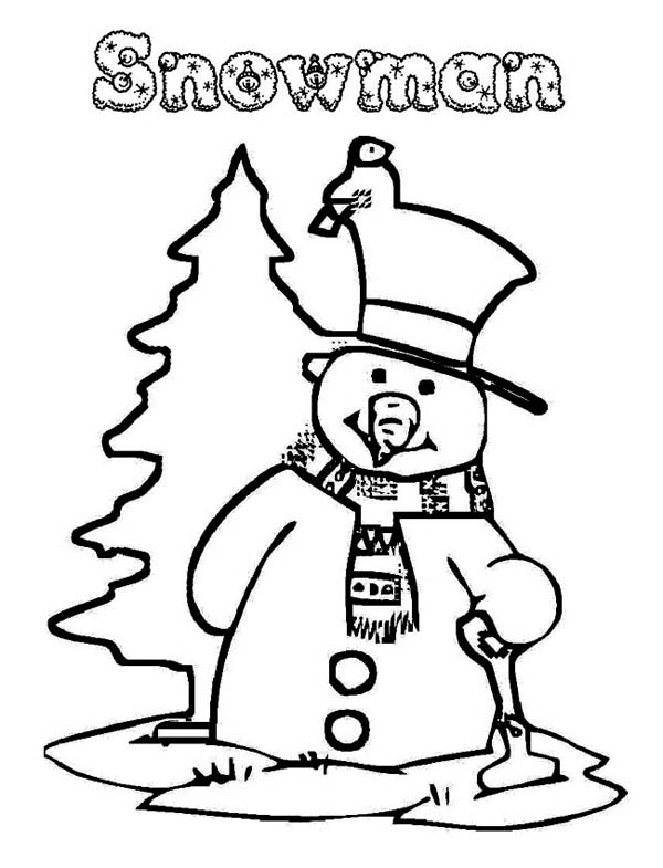 Christmas, : The Snowman Preparing on Christmas Coloring Page