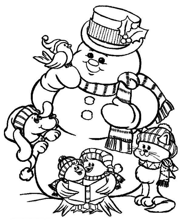 Christmas, : The Snowman and Friends Celebrating Christmas on Christmas Coloring Page