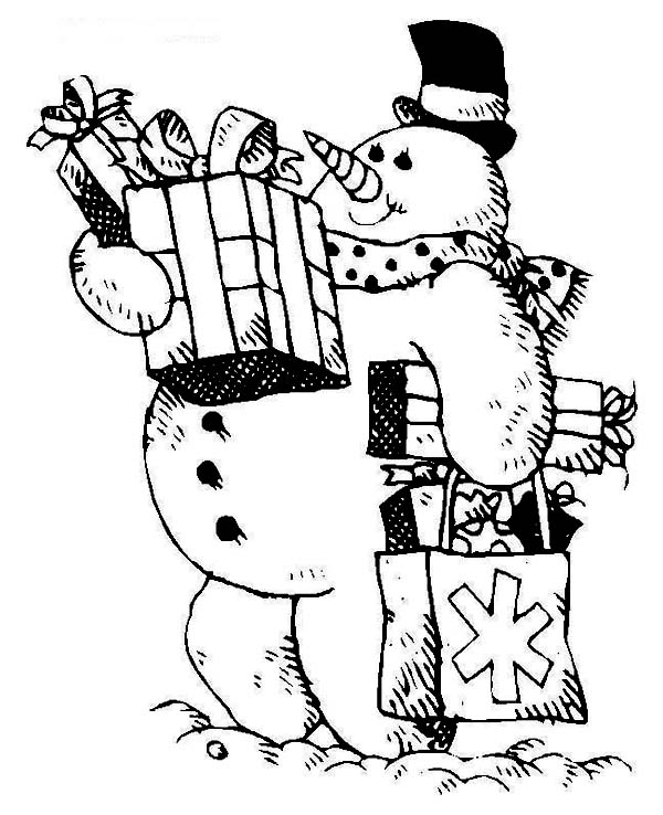 Christmas, : The Snowman with Bunch of Christmas Presents on Christmas Coloring Page