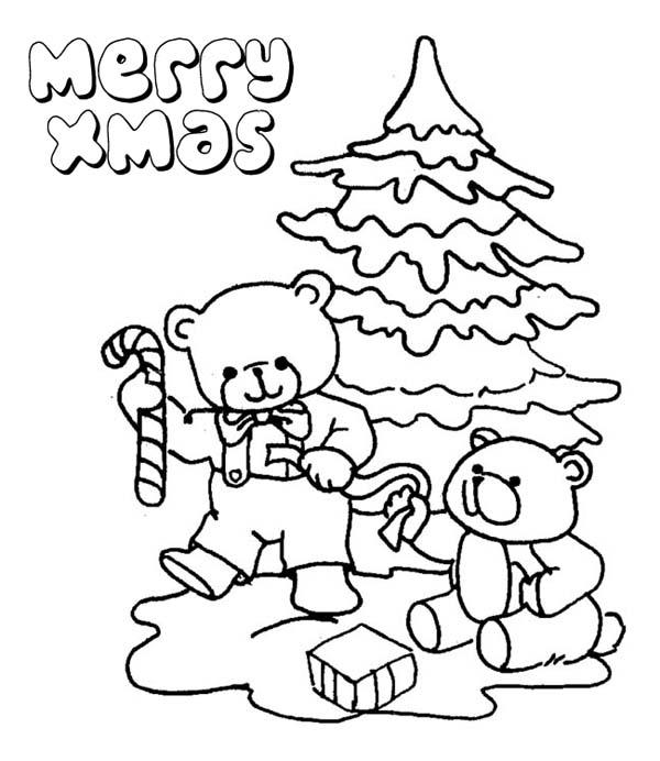 Christmas, : Two Tiny Bear Celebrating Christmas on Christmas Coloring Page