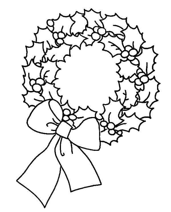 Christmas Wreaths, : Amazing Christmas Wreaths Image Coloring Pages