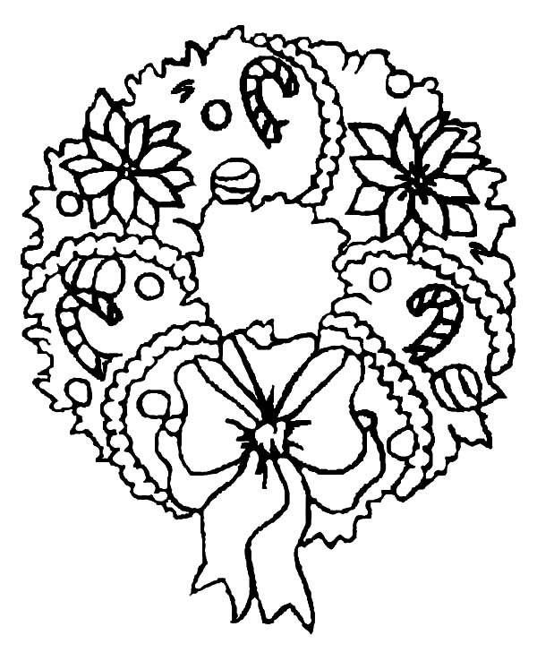 Christmas Wreaths, : Candy Cane Christmas Wreaths Coloring Pages