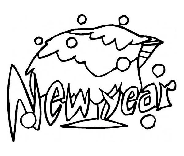 New Year, : Celebrating 2015 New Years Eve with a Glass of Campagne Coloring Page