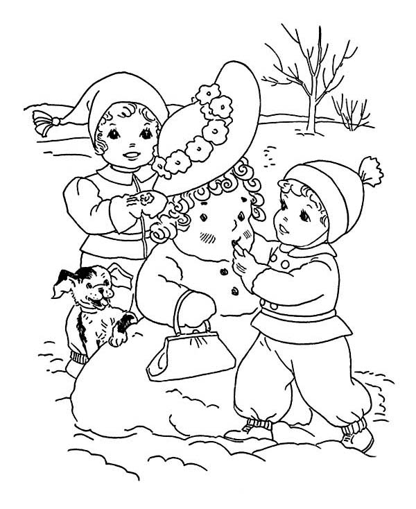 Winter Season, : Childrens Putting Make Up on Mr Snowman on Winter Season Coloring Page