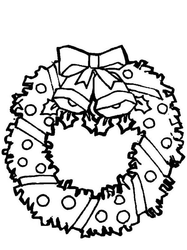 Christmas Wreaths, : Christmas Bells on Christmas Wreath Coloring Pages