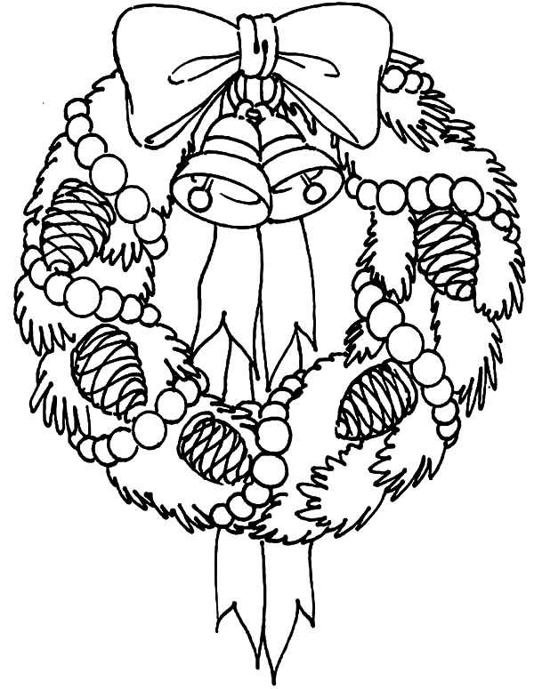 Christmas Wreaths, : Christmas Wreath Covered with Pine Fruit Coloring Pages