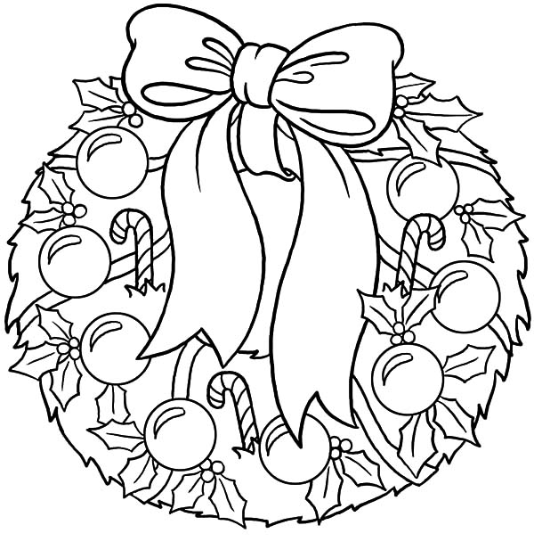 Christmas Wreaths, : Christmas Wreaths Covered with Candy Cane and Glitter Balls Coloring Pages