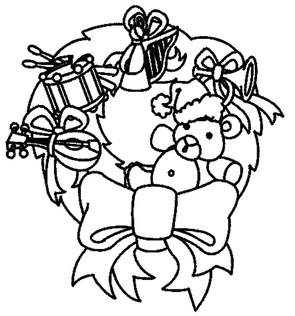 Christmas Wreaths, : Christmas Wreaths Decorated with Teddy Bear Coloring Pages