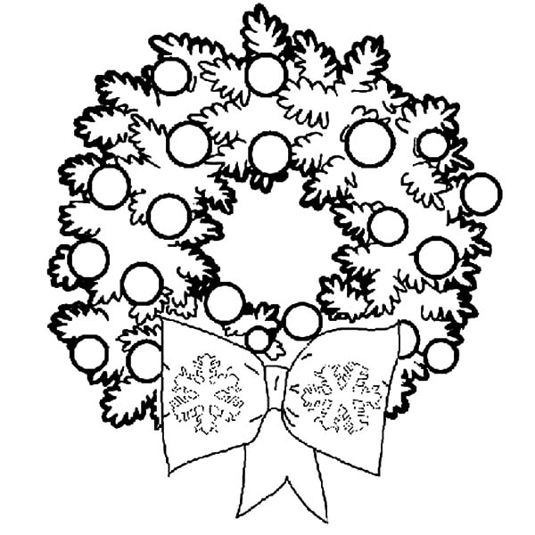 Wreaths for Christmas Decorations Coloring Pages | Coloring