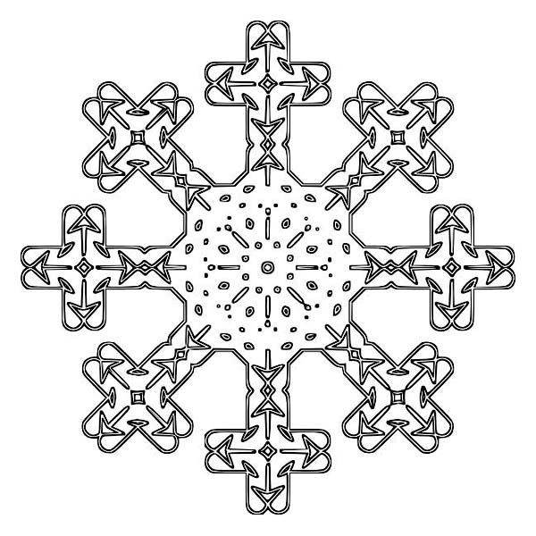 Winter Season, : Cross Pattern Winter Season Snowflake Coloring Page