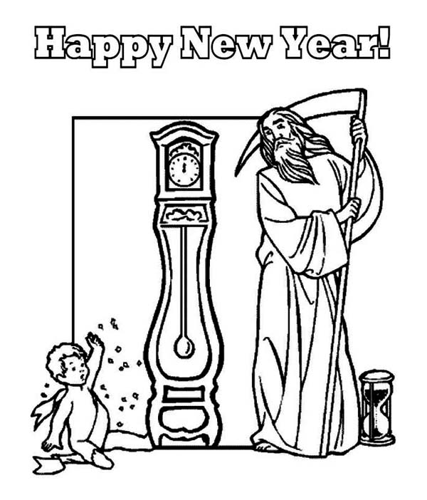 New Year, : Cute Baby New Year and Father Time Waiting Countdown on 2015 New Year Coloring Page