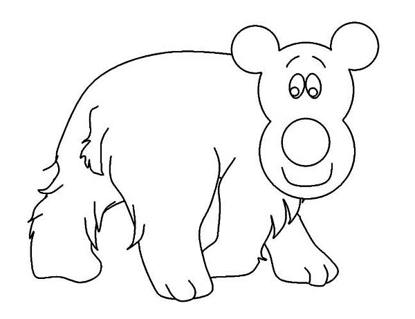Winter Season, : Friendly Polar Bear Walking Around on Winter Season Coloring Page