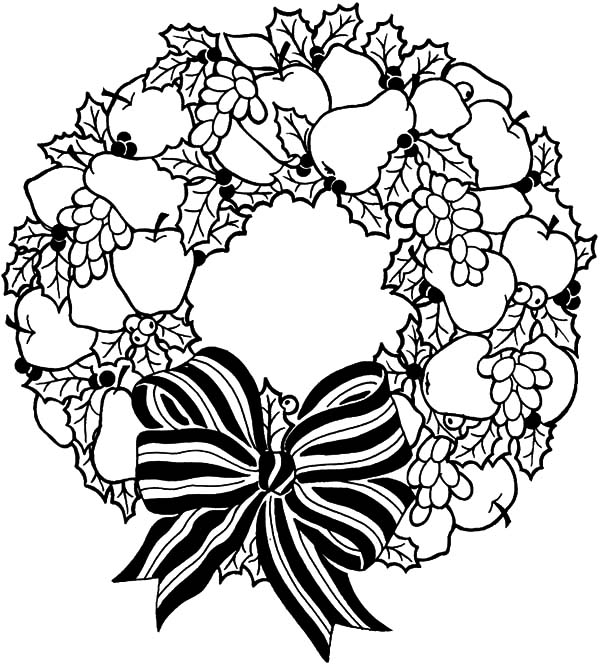 Christmas Wreaths, : Fruity Christmas Wreaths Coloring Pages