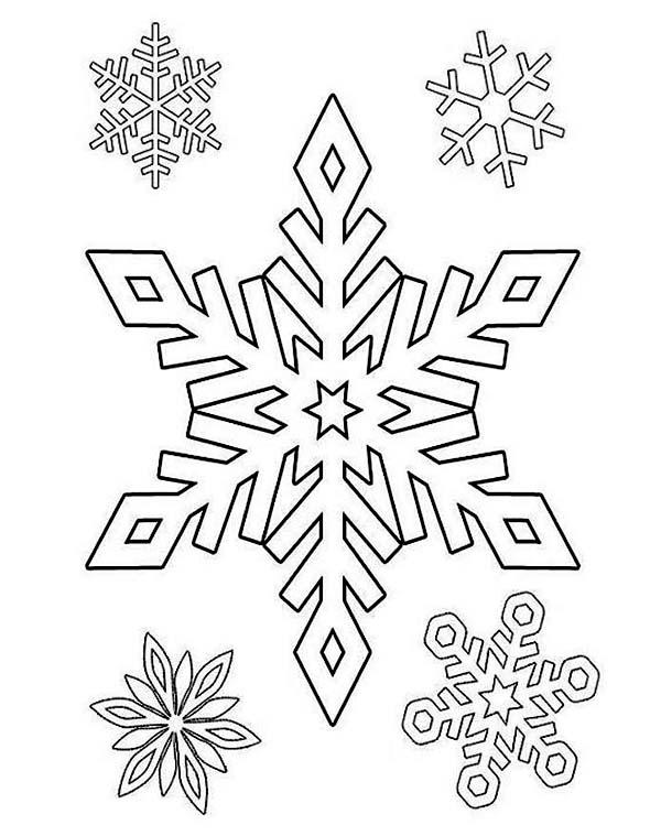 Winter Season, : Gorgeous Winter Season Snowflake Pattern Coloring Page