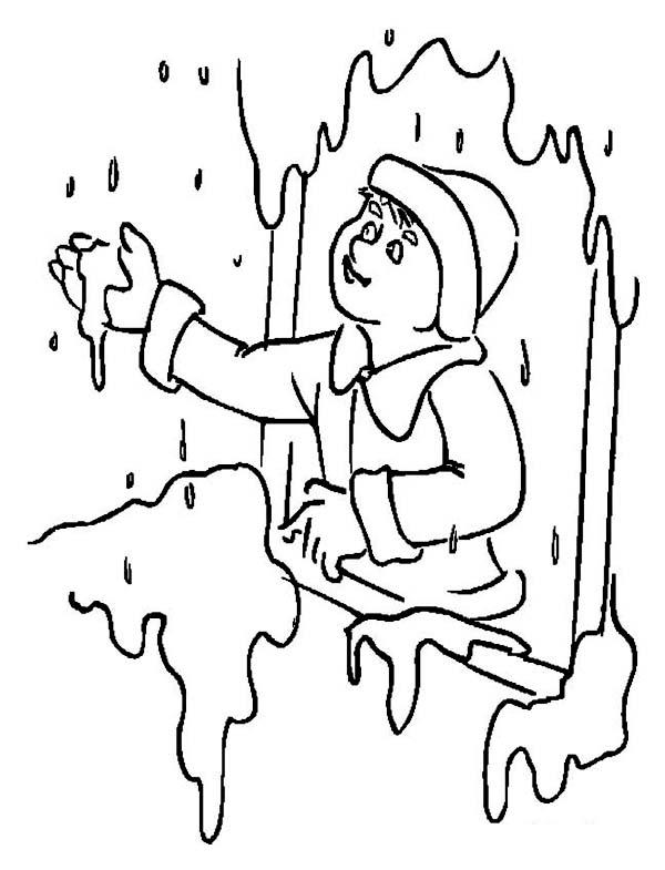 Winter Season, : Heavy Snow Rain on Winter Season Coloring Page