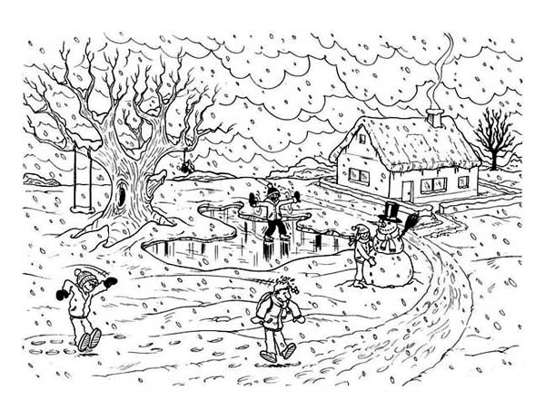 Winter Season, : Heavy Winter Season Scene Coloring Page