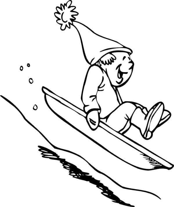 Winter Season, : Hilarious Man Slidding Down on Single Board During Winter Season Coloring Page
