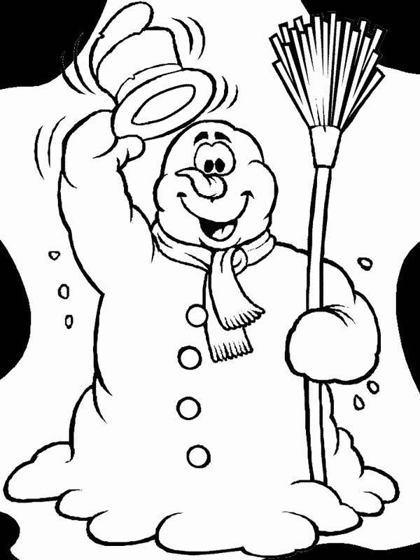 Winter Season, : Hilarious Mr Snowman Says Hello Winter Season Coloring Page