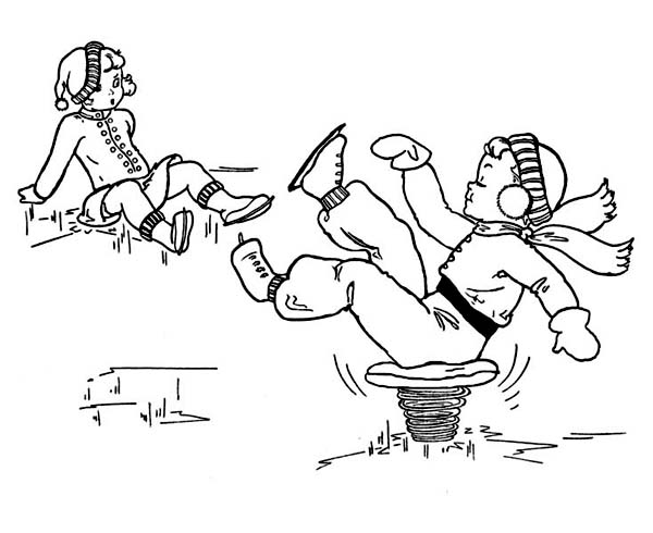 Winter Season, : Hilarious Way to Avoid Getting Hurt While on Winter Season Skates Coloring Page