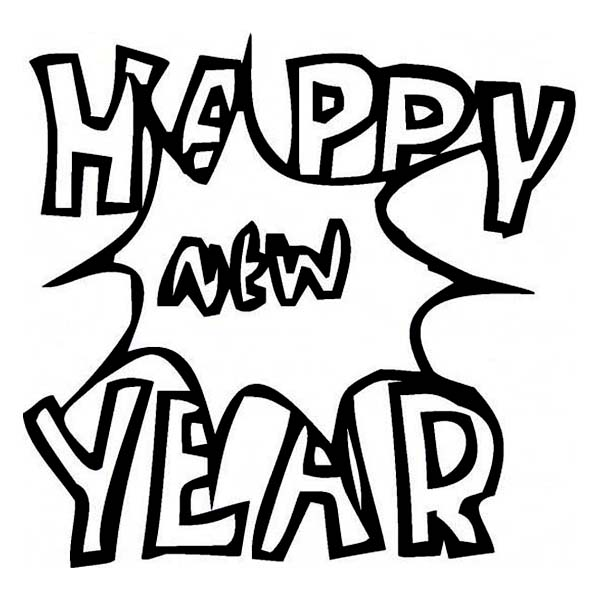 New Year, : Joyful and Happy New Years Eve with a Big Bang on 2015 New Year Coloring Page
