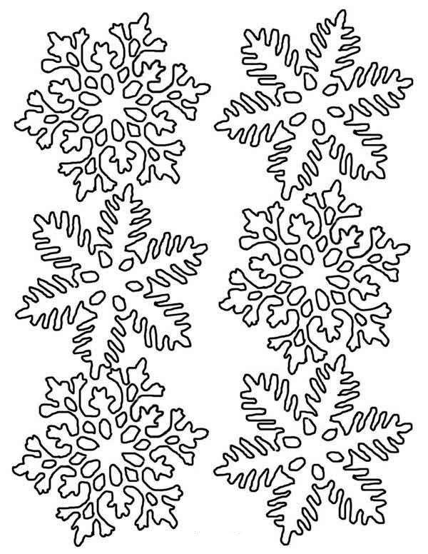 Winter Season, : Lovely Snowflakes in Many Different Form on Winter Season Coloring Page