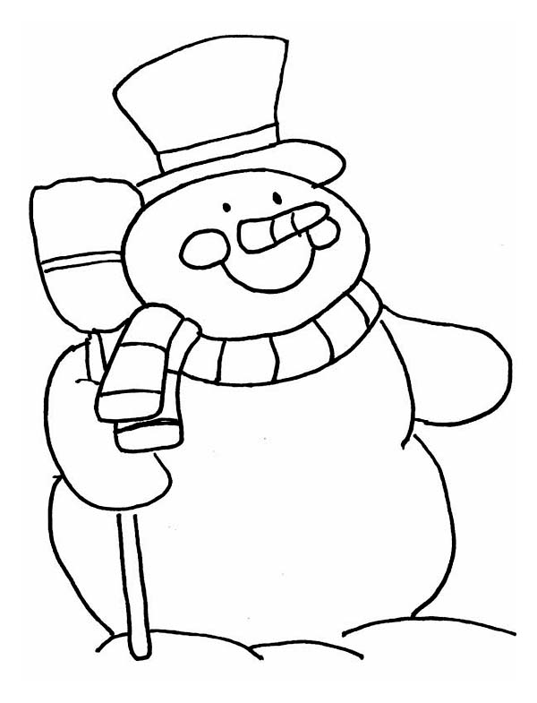 Winter Season, : Mr Snowman Holding a Broom in Winter Season Coloring Page