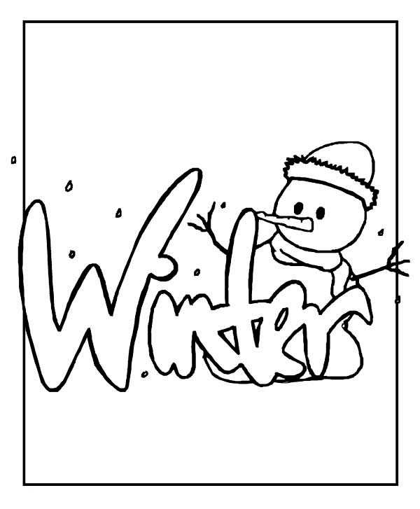 Winter Season, : Mr Snowman Says Happy Winter Season to All Coloring Page