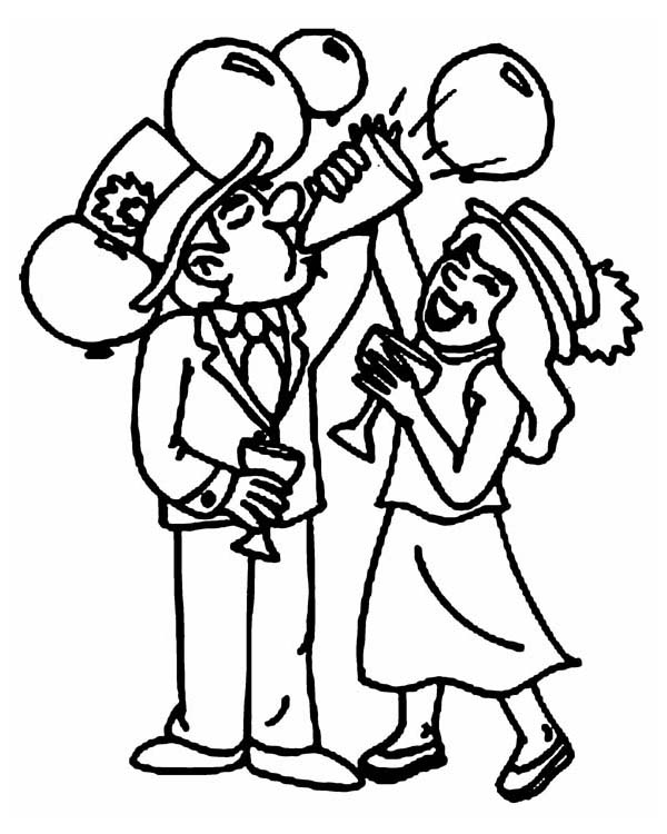 New Years Eve Celebration At The Office On 2015 Year Coloring Page