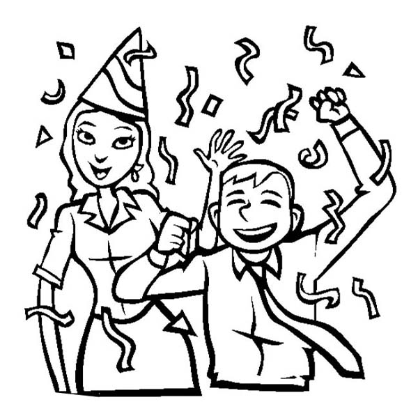 New Year, : Office Colleagues Celebrating 2015 New Year Coloring Page