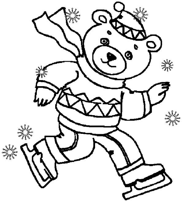 Winter Season, : One Teen Bear in Winter Season Outfit Coloring Page