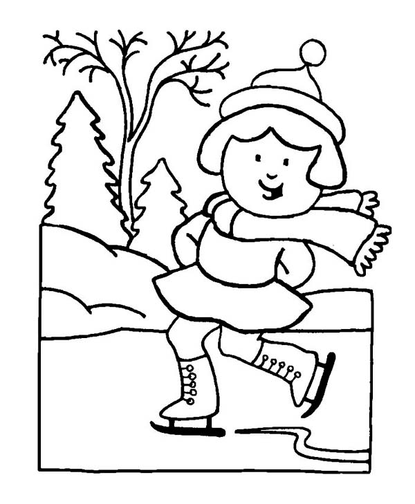Winter Season, : Skillful Young Little Girl Playing Ice Skates on Winter Season Coloring Page