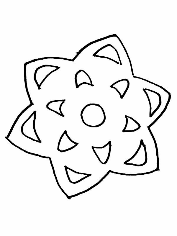 Winter Season, : Star Shaped Snowflake on Winter Season Coloring Page