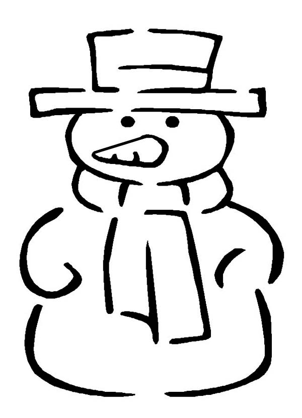 Winter Season, : Traditional Mr Snowman Figure for Winter Season Event Coloring Page