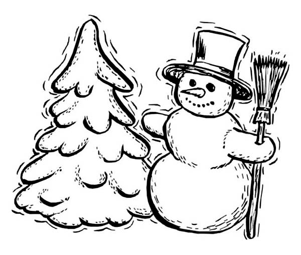Traditional Winter Season Figures Mr Snowman and Pine Tree Coloring
