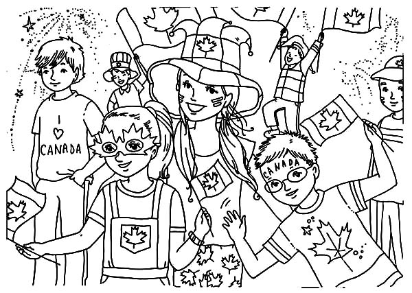 Canada Day, : A Group of Childrens Celebrating Canada Day Celebration Coloring Pages